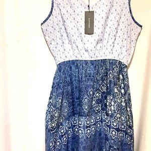 Sleeveless Cotton Tank Dress - L
